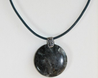 Larvikite and Sterling Silver Pendant