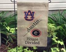 House Divided Monogrammed Burlap Garden Flag-House Divided Team Yard Flag-Garden Decor-Personalized Flag-Monogrammed