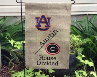 House Divided Monogrammed Burlap Garden Flag-House Divided Team Yard Flag-Garden Decor-Personalized Flag-Monogrammed