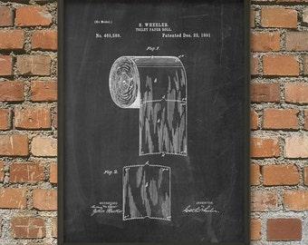 Toilet Roll Patent Wall Art Poster - Bathroom Poster - Restroom Wall Art - Bathroom Print - Bathroom Wall Art - Toilet Paper Roll
