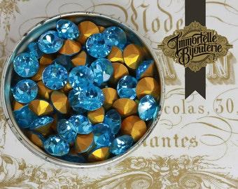 SS33 Swarovski Aquamarine Blue Dentelle Vintage Rhinestones Chatons - Article 1200 Austrian 1st Quality MC Crystal - 6pcs