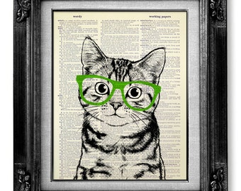 GIFT for CAT Lover Gift for PET Lover Gift Print, Original Cat Painting, Funny Nerd Gift, Kitten Wall Art Poster, Mint Green Art Glasses Cat