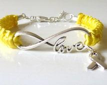 Yellow Awareness LOVE Bracelet Endometriosis Bone Cancer Osteosarcoma Spina Bifida Suicide Liver Diseases Armed Forces Return