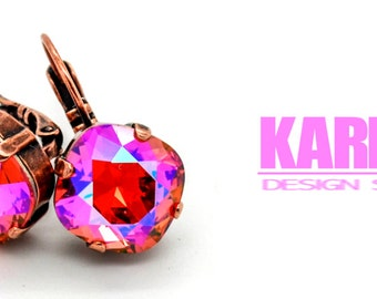 PADPARADSCHA GLACIER BLUE 12mm Cushion Cut Crystal Earrings Swarovski Elements *Pick Your Finish *Karnas Design Studio *Free Shipping*