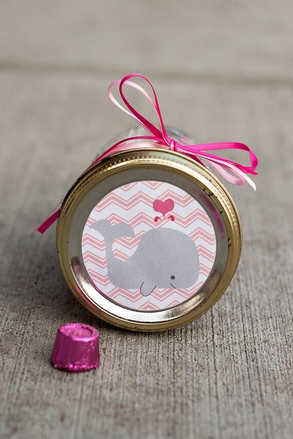 Printable Baby Shower Mason Jar Label PDF For Girl   Chevron Whale Jar  Label   Baby Shower Favor