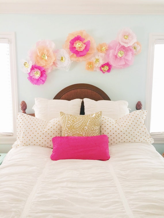 Wall Decor Tissue Paper : Items similar to set of pink and gold handmade tissue