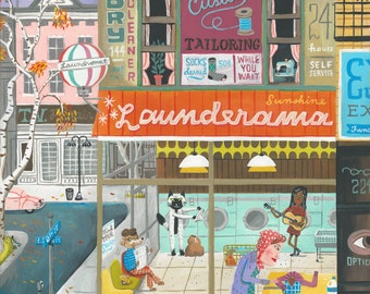 The Sunshine Launderama. A limited edition giclee print of an original illustration.
