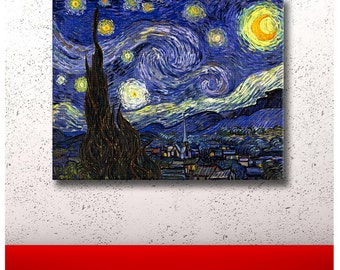 "30% OFF! Canvas Print ""The Starry Night"" By Van Gogh poster Repro reproduction fine art photo gallery print Artwork Giclee decor p"