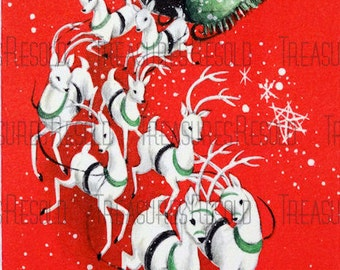 Santa Sleigh Reindeer Christmas Card #105 Digital Download