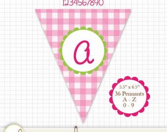 "Printable Pennant Pink Gingham- A thru Z & 0 thru 9 - Create any message! 36 pennants. 5.5"" x 6.5"""