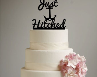 Just Hitched Anchor  Beach Wedding Cake Topper -  Destination Wedding  - Beach Wedding - Cruise Wedding