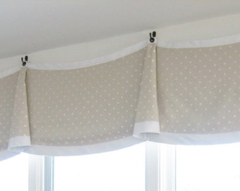 Custom Window Treatments- FLAT BELL VALANCE w/Grommets -made to order (your fabric,my lining)