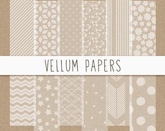Vellum Digital Paper, Vellum Paper Texture, Semi-transparent Digital Paper, Vellum Scrapbook Paper, Instant Download