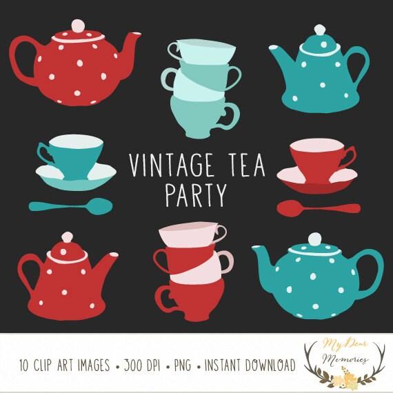 Tea Clip Art Tea Cup Clipart Tea Pot Clipart Vintage Clip