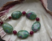 Ruby Zoisite, Faceted Ruby and Sterling Silver Bracelet, 8 inches with Sterling Silver Toggle Clasp