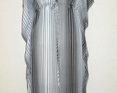 On Sale!!!  All silk Kaftan dress with black and white stripes - 30% off!! (was 175...now 122.50!)