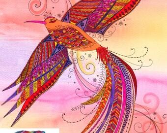 Vibrant, Intricate Bird Of Paradise Print