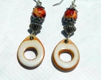 Boho Dangle Drop Earrings. Handmade Glazed Donut Hole Beads.Hippie earrings. Beaded earrings. Gypsy earrings. Boho earrings.