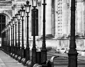Paris photography, black and white photography, bicycle at the Louvre, lampposts, French wall art, Paris decor, home decor, fine art print