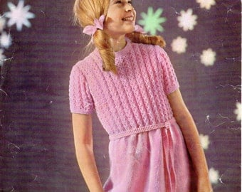 Girls dress knitting pattern patterned bodice short sleeve DK dress pattern 26-32 inch girls Knitting Pattern for girls PDF Instant Download