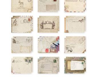 Vintage Mini Kraft Envelopes Set  12 pcs,  E003