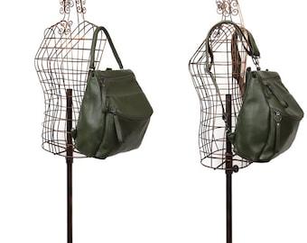 Leraje Convertible Backpack | Shoulder bag - khaki, made of  rich shrunken leather. wear it as a backpack or shoulder bag