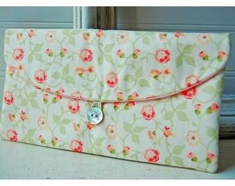 Bridesmaids Clutch purse peach pink green rose Bridal Wedding Shabby bag Gift Giving Make Up Travel Gadget ,Gift Under 25