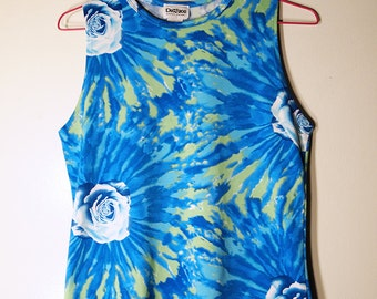 BLUE Roses // Vintage 90s Tie Dye Tank Top Grunge Stretchy Shirt Sublimation Print Y2K Womens M - L