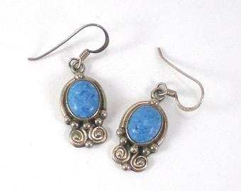 Sterling Silver Earrings -  Blue Earrings - Robin Egg Dangle Pierced Earrings - Vintage Jewelry
