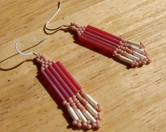 Rose, white, and magenta dangly beaded earrings with sterling silver earwires