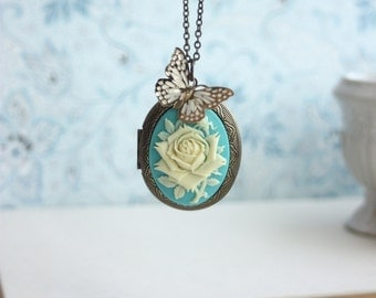 Large Cameo Ivory Resin Rose Flower Necklace, Flying Gold Butterfly Turquoise Blue Locket Long Necklace. Statement Necklace Christmas Gift