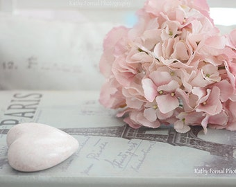 Pink Hydrangea Floral Print, Shabby Chic Decor, Paris Books Print, Dreamy Pink Hydrangeas, Paris Books Photography, French Shabby Chic Decor