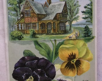 Fancy House with Large Purple Pansies- Victorian Trade Card - New Home Sewing Machine - 1800's