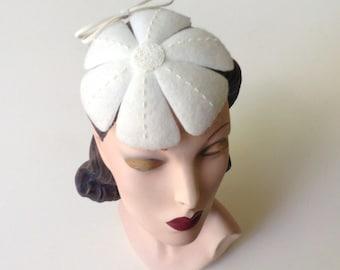 Ivory Felt Flower Wedding Hat, Bridal Accessory, Vintage Inspired Hand-Beaded Wool Felt Flower Cocktail Hat