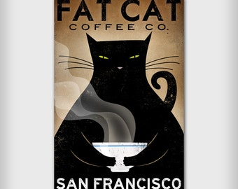 Free CUSTOMIZE PERSONALIZE Fat Cat Coffee Cafe Company Black Cat Graphic Art Illustration Stretched Canvas Wall Art  SIGNED