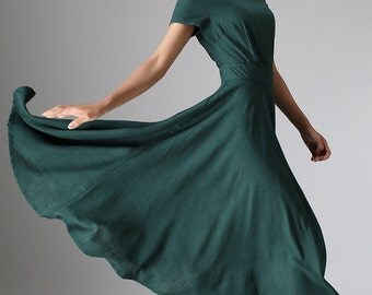 Maxi dress,  linen dress woman - Green Long Floaty Elegant Flared Dress with Fitted Waist & Short  Sleeves - Custom made midi dress   (971)
