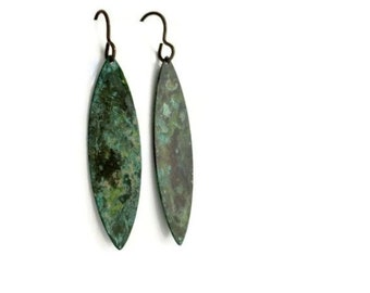 Leaf Earrings / Verdigris Patina / Verdigris Jewelry