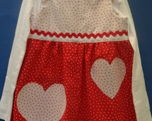 GIRLS, BOUTIQUE STYLE dress, white polo shirt, size 6 to 6x, polka dot pattern, red and white,heart buttons and appliques