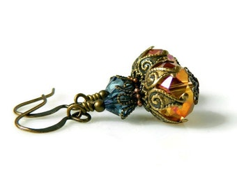 Victorian Coral Crystal Earrings Orange Coral Earrings Aquamarine Earrings Pink Orange Earrings Aurora Borealis Antique Brass Downton Abbey