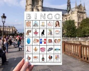 Paris Travel Bingo - PRINTABLE - Card, Travel Accessory, Traveller Gift, France Wanderlust