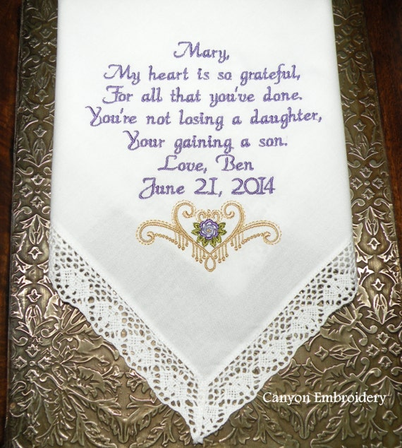 Wedding Day Gift For Bride From Mother In Law : Mother In Law Wedding Gift From Bride Personalize Embroidered Hanky ...