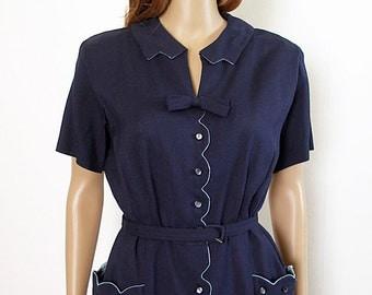 Vintage 1950s Dress Navy Blue Button Front Shirtwaist Dress / Medium