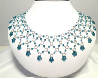 Sterling Silver Wire Wrapped Chainmaille Beaded Bib Necklace Indicolite Blue Crystals