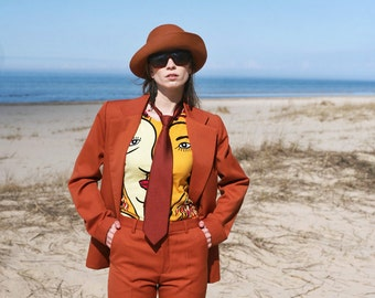 Rust Two Piece lady Suit - Burnt Orange Tailored 90ies style Long Jacket and fitting Pants size S M
