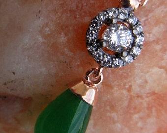 edwardian vintage antique inspired pendant green drop sterling gold