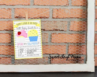 Printable Invitation – Baby - Gender Reveal Party – Cupcake or Stud Muffin Gender Reveal - Bun in the Oven - Personalized - DIY Invitation