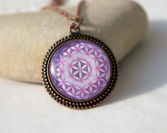 Lilac Flower Of Life, Sacred Geometry Symbol, Necklace, Antique Copper Pendant,Glass Cabochon Pendant With Chain