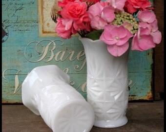 Milk Glass Vases / Vintage Milk Glass Vases by Hazel Atlas /Milk Glass Wedding/ Beach House Decor