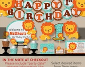 Lion Baby Shower, Lion Birthday Party Package -Invitation, Banner, Cake Topper, Cupcake Toppers