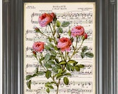 French pink roses wall art dictionary art print Wall decor Sheet music print COUPON Digital art print Flower print Home decor Item No 675